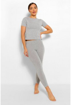 Grey marl grey Basic T-shirt and Legging Soft Jersey PJ Set