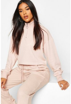 Stone beige Zip Detail Funnel Neck Lounge Sweatshirt