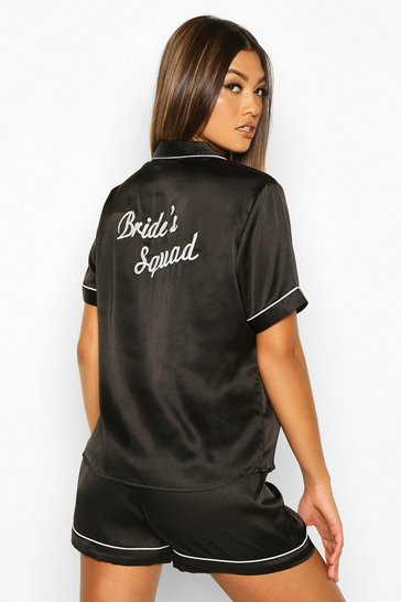 Black Bride's Squad Satin Embroidered Pj Short Set