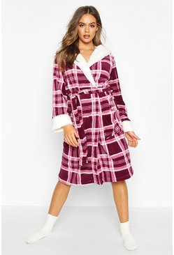 Berry red Soft Fleece Check Dressing Gown
