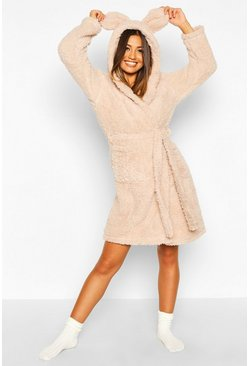 Taupe beige Super Soft Hooded Fleece Dressing Gown