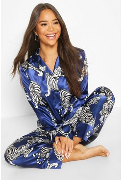 Navy Tiger Print Satin Button Through Pj Pants Set