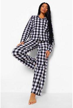 Black Brushed Check Button PJ Trouser Set