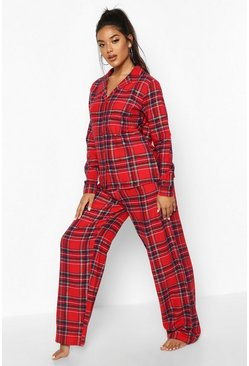 Red Brushed Check Button Through PJ Trouser Set