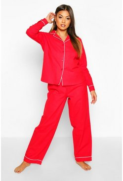 Red Brushed Button Through PJ Trouser Set