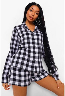 Black Brushed Check Long Sleeve PJ Shorts Set