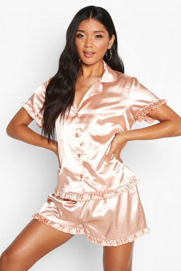 Rose gold metallic Satin Ruffle Button Through PJ Short Set