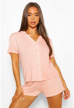 Blush pink Jersey Polka Dot Button Through PJ Short Set