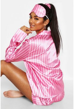 Pink Stripe Print 5 Piece PJ Set
