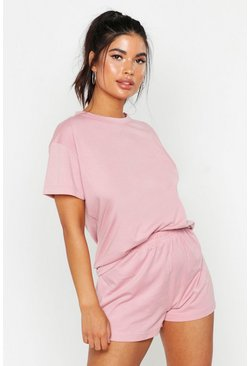 Blush Basic T-Shirt And Pyjama Short Set