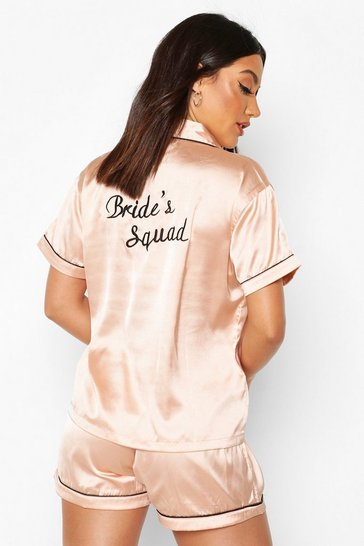 Rose gold metallic Bride's Squad Satin Embroidered Pj Short Set