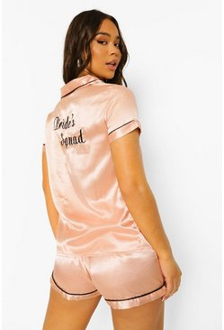 Rose gold metallic Bride Squad Satin Embroidered Pj Short Set