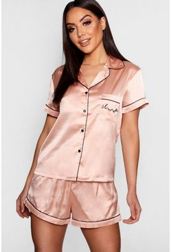 Rose gold metallic Sleep' Embroidered Satin Pajama Short Set
