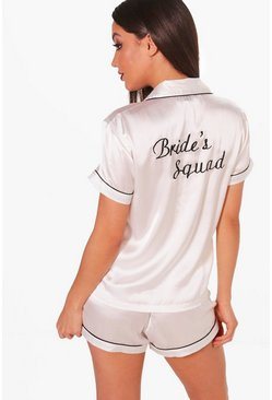 Ivory white Brides Squad Satin Embroidered Pj Short Set