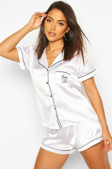 White Bride To Be Embroidered Satin Shirt and Short Set