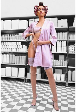 Lilac purple Belted Kimono Sleeve Robe