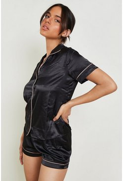 Black Satin PJ Short Set with Contrast Piping