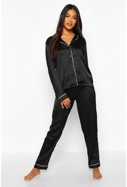 Black Satin Button Through Shirt And Trouser Pyjama Set