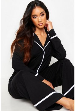 Black Long Sleeve Button Through Jersey PJ Set