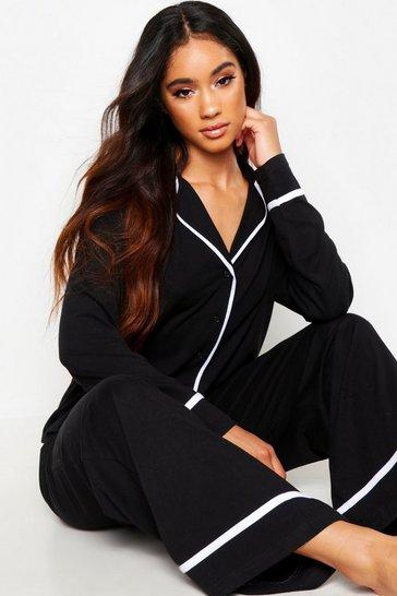 Black Long Sleeve Button Through Jersey PJ Set