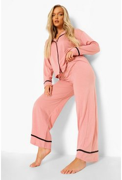 Blush pink Long Sleeve Button Through Jersey PJ Set