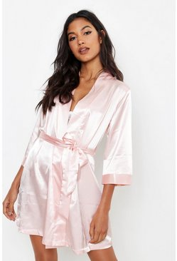 Blush pink Diamante Brides Squad Satin Robe