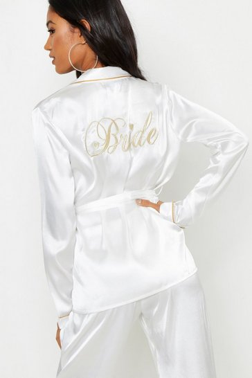 Ivory white Bride Wrap Front PJ Set