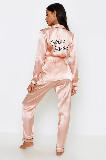 Rose gold metallic Brides Squad Wrap Front PJ Set