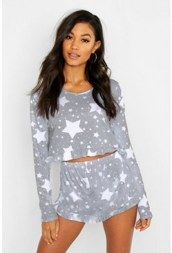 Grey Star Print Frill Hem Pajama Shorts Set