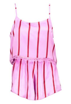 Pink Skinny Stripe Cami And Pyjama Short Set