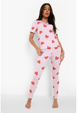 Pink All Over Valentines Heart Print PJ Set