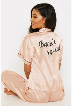 Rose Gold Brides Squad Embroidered PJs