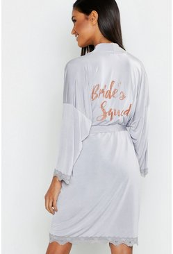 Grey Glitter Brides Squad Robe