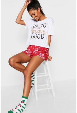 "Pyjama avec short de Noël ""Up to no good"", Rouge"