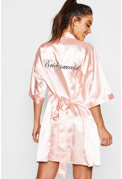 Blush Bridesmaid Satin Robe