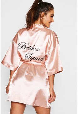 Rose gold metallic Brides Squad Satin Robe