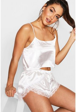 Cream white Satin Cami And Eyelash Lace Pyjama Short Set