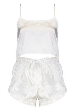 Cream Satin Cami And Eyelash Lace Pyjama Short Set