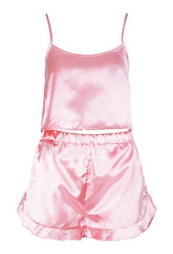 Pink Satin Crop Vest And Pyjama Short Set