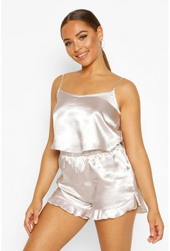 Silver Satin Crop Tank Top And Pajama Short Set