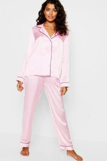 Pink Contrast Piping Button Down Satin Set