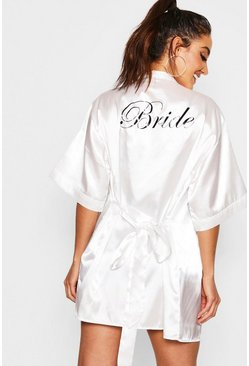 Ivory white Satin Bride Robe