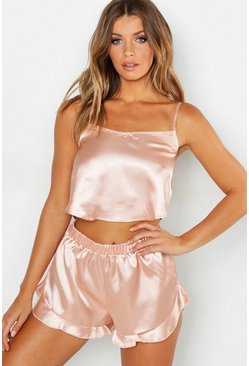 Rose gold metallic Satin Frill Hem Cami And Pajama Short Set