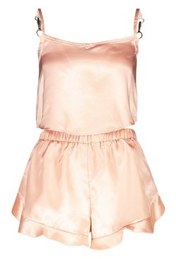 Rose gold Satin Frill Hem Cami And Pyjama Short Set