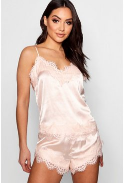 Blush pink Eyelash Lace Trim Cami And Pyjama Short Set