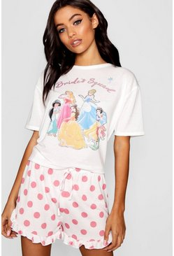White Disney Princess 'Brides Squad' Frill PJ Short Set
