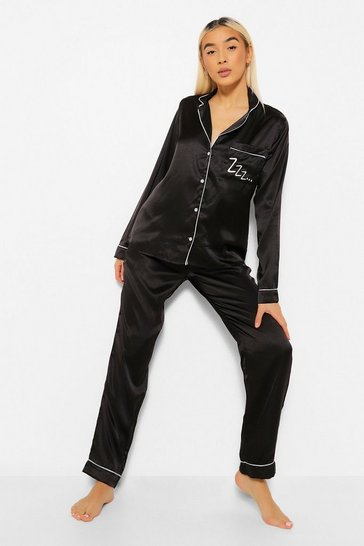 Black Zzz Satin Button Through Trouser Pyjama Set