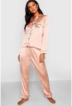 Rose gold Zzz Satin Button Through Trouser Pyjama Set