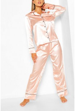 Rose gold metallic Satin Button Through Piped PJ Set