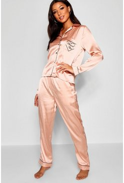 Rose gold metallic Brunch Club Embroidered Satin PJ Set